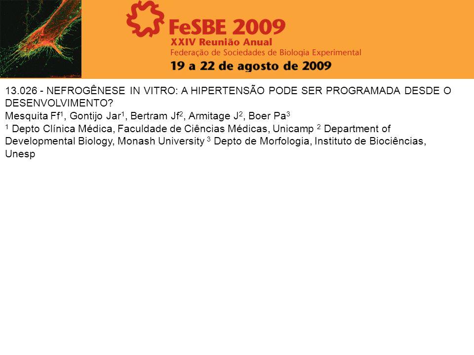 13.026 - NEFROGÊNESE IN VITRO: A HIPERTENSÃO PODE SER PROGRAMADA DESDE O DESENVOLVIMENTO? Mesquita Ff 1, Gontijo Jar 1, Bertram Jf 2, Armitage J 2, Bo