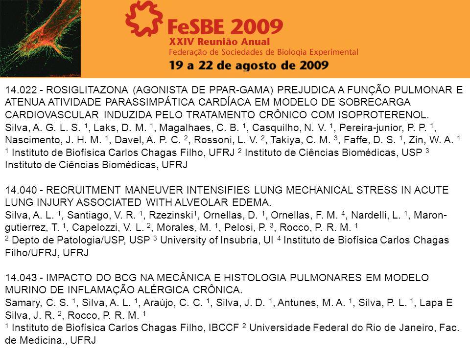 14.022 - ROSIGLITAZONA (AGONISTA DE PPAR-GAMA) PREJUDICA A FUNÇÃO PULMONAR E ATENUA ATIVIDADE PARASSIMPÁTICA CARDÍACA EM MODELO DE SOBRECARGA CARDIOVA