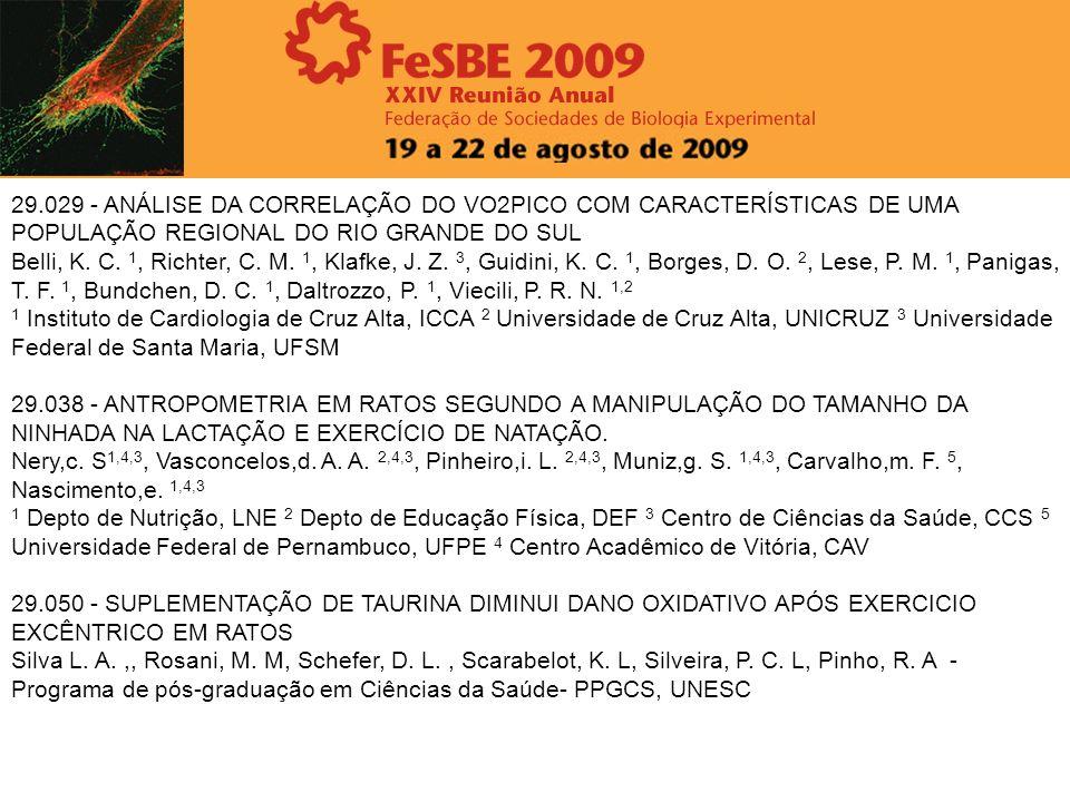 29.029 - ANÁLISE DA CORRELAÇÃO DO VO2PICO COM CARACTERÍSTICAS DE UMA POPULAÇÃO REGIONAL DO RIO GRANDE DO SUL Belli, K. C. 1, Richter, C. M. 1, Klafke,