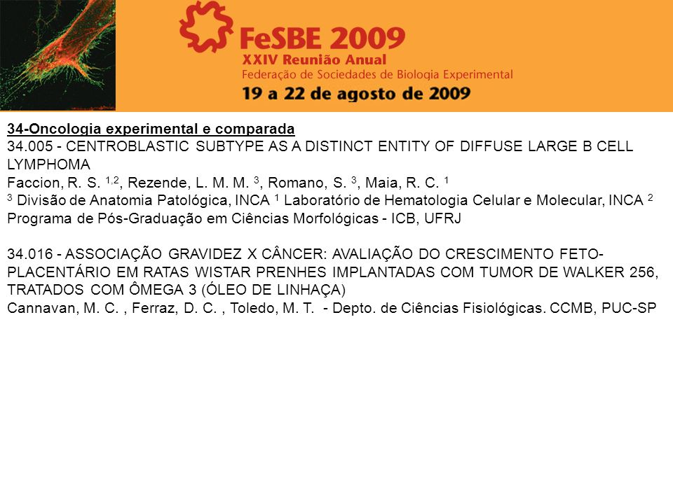 34-Oncologia experimental e comparada 34.005 - CENTROBLASTIC SUBTYPE AS A DISTINCT ENTITY OF DIFFUSE LARGE B CELL LYMPHOMA Faccion, R. S. 1,2, Rezende