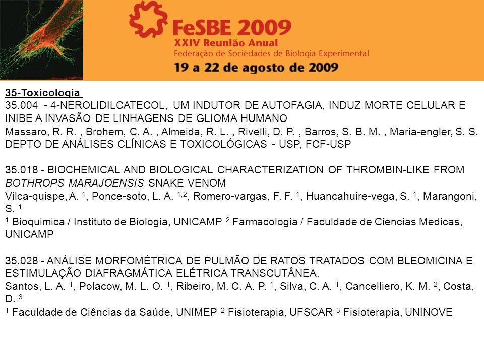 35-Toxicologia 35.004 - 4-NEROLIDILCATECOL, UM INDUTOR DE AUTOFAGIA, INDUZ MORTE CELULAR E INIBE A INVASÃO DE LINHAGENS DE GLIOMA HUMANO Massaro, R. R
