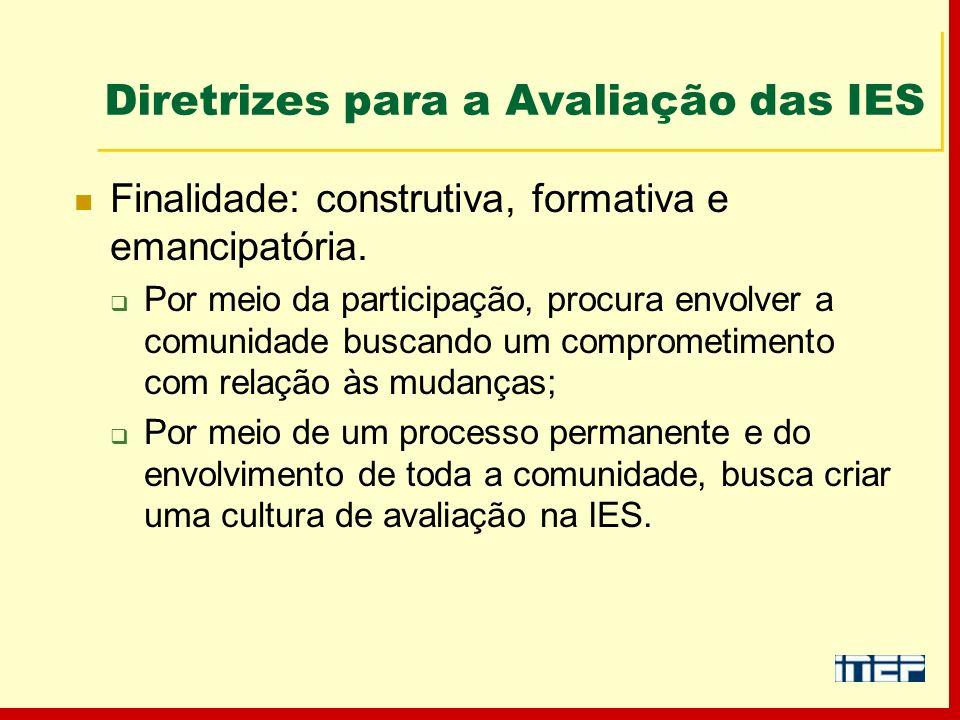 Diretrizes para a Avaliação das IES Finalidade: construtiva, formativa e emancipatória. Por meio da participação, procura envolver a comunidade buscan
