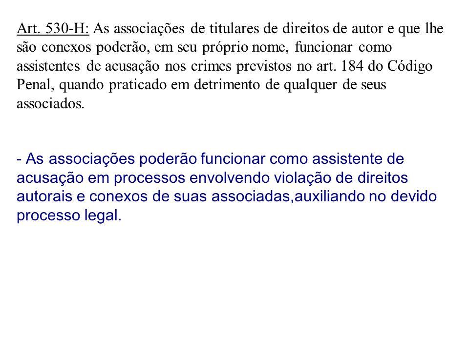 Art. 530-H: As associações de titulares de direitos de autor e que lhe são conexos poderão, em seu próprio nome, funcionar como assistentes de acusaçã