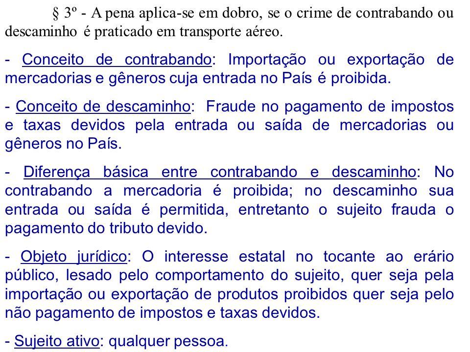 § 3º - A pena aplica-se em dobro, se o crime de contrabando ou descaminho é praticado em transporte aéreo. - Conceito de contrabando: Importação ou ex