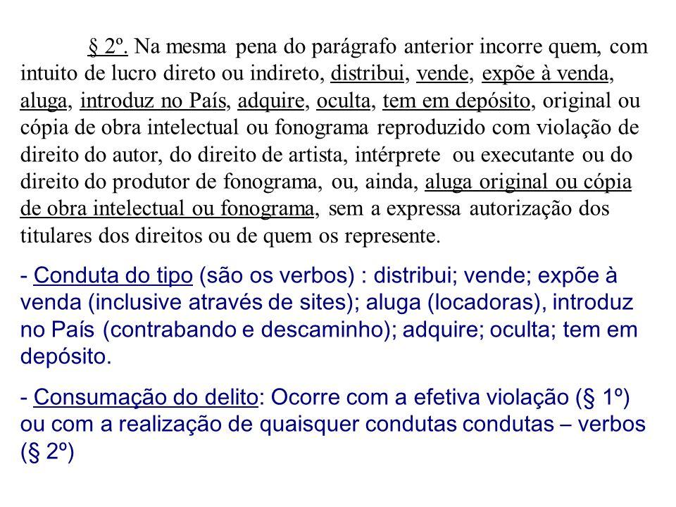 § 2º. Na mesma pena do parágrafo anterior incorre quem, com intuito de lucro direto ou indireto, distribui, vende, expõe à venda, aluga, introduz no P