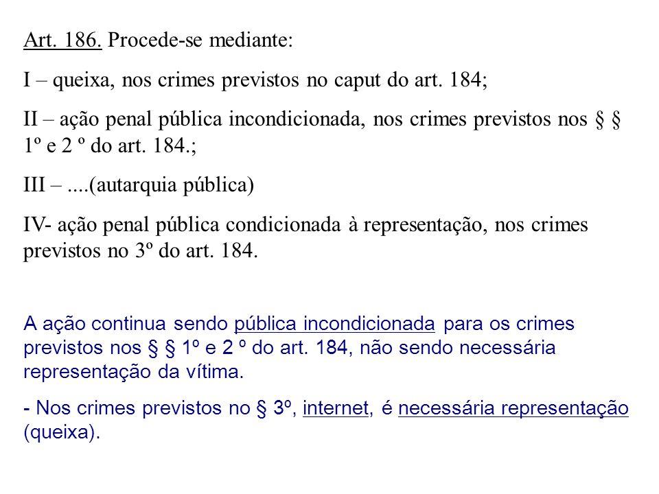 Art. 186. Procede-se mediante: I – queixa, nos crimes previstos no caput do art. 184; II – ação penal pública incondicionada, nos crimes previstos nos