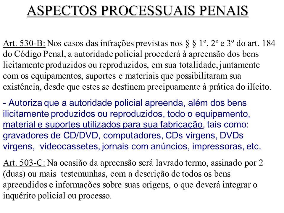 Art. 530-B: Nos casos das infrações previstas nos § § 1º, 2º e 3º do art. 184 do Código Penal, a autoridade policial procederá à apreensão dos bens li