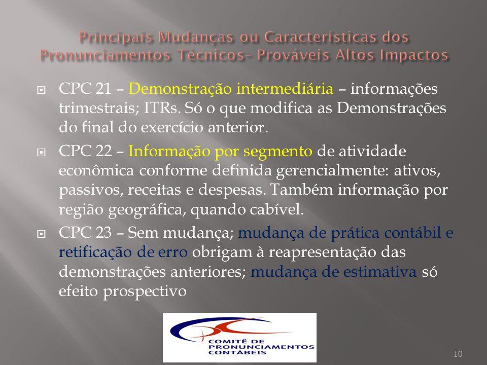 CPC 21 – Demonstração intermediária – informações trimestrais; ITRs. Só o que modifica as Demonstrações do final do exercício anterior. CPC 22 – Infor