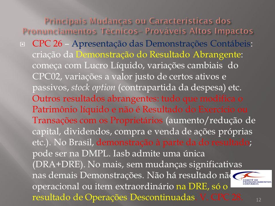 CPC 26 – Apresentação das Demonstrações Contábeis: criação da Demonstração do Resultado Abrangente: começa com Lucro Líquido, variações cambiais do CP
