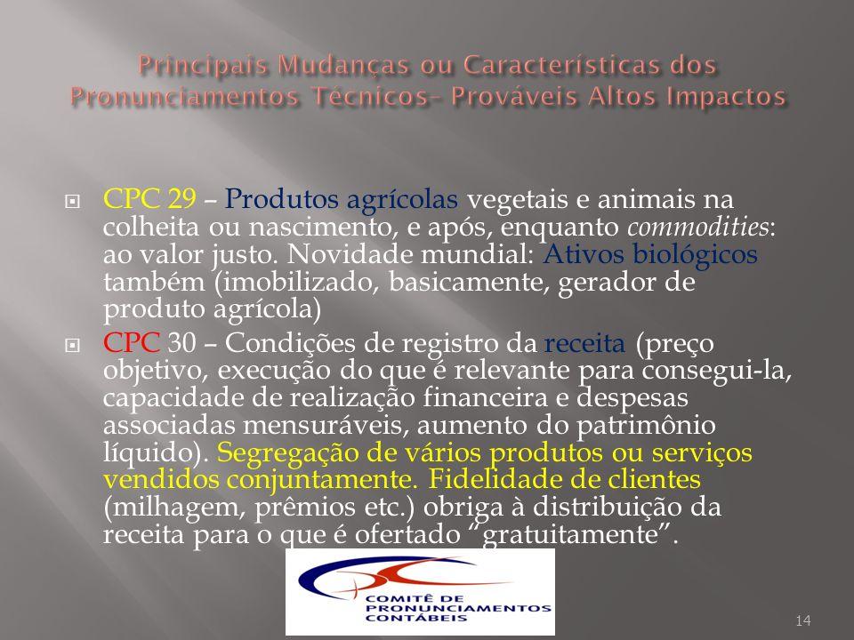 CPC 29 – Produtos agrícolas vegetais e animais na colheita ou nascimento, e após, enquanto commodities : ao valor justo. Novidade mundial: Ativos biol