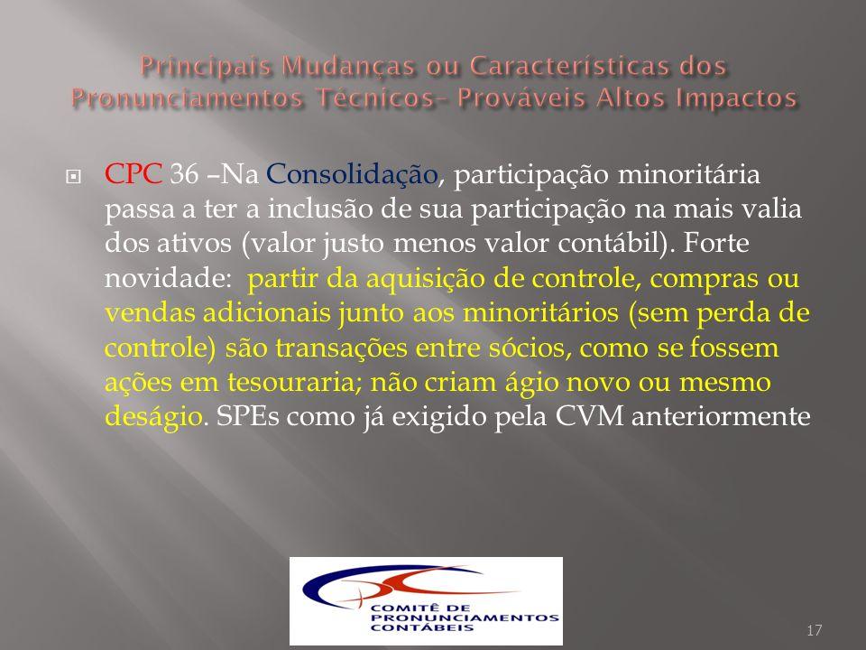 CPC 36 –Na Consolidação, participação minoritária passa a ter a inclusão de sua participação na mais valia dos ativos (valor justo menos valor contábi