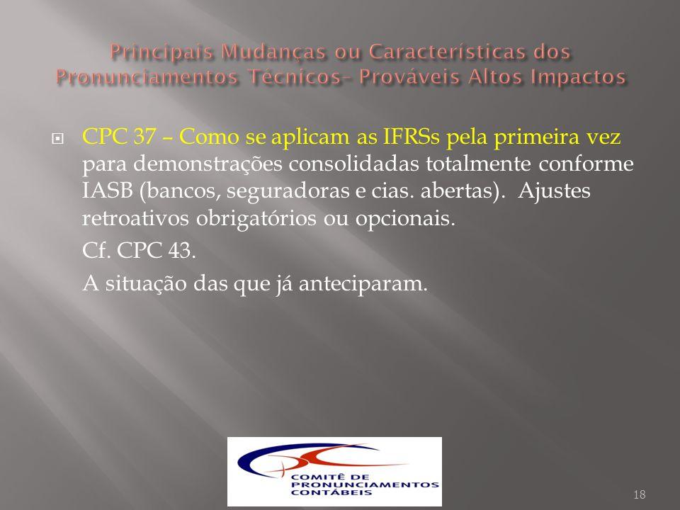 CPC 37 – Como se aplicam as IFRSs pela primeira vez para demonstrações consolidadas totalmente conforme IASB (bancos, seguradoras e cias. abertas). Aj