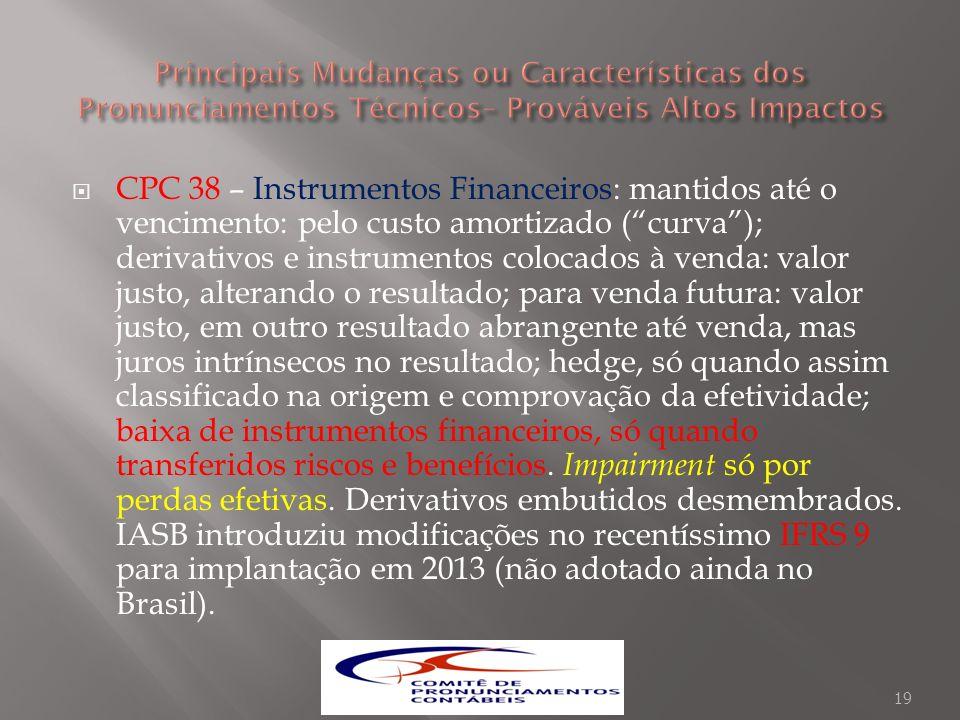CPC 38 – Instrumentos Financeiros: mantidos até o vencimento: pelo custo amortizado (curva); derivativos e instrumentos colocados à venda: valor justo