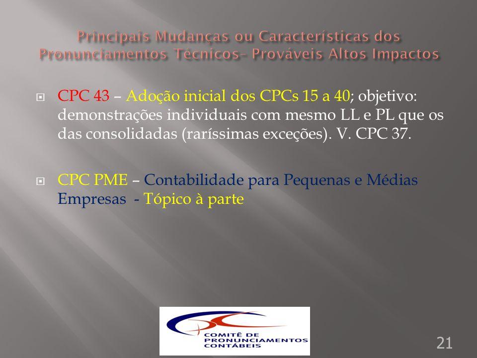 CPC 43 – Adoção inicial dos CPCs 15 a 40; objetivo: demonstrações individuais com mesmo LL e PL que os das consolidadas (raríssimas exceções). V. CPC