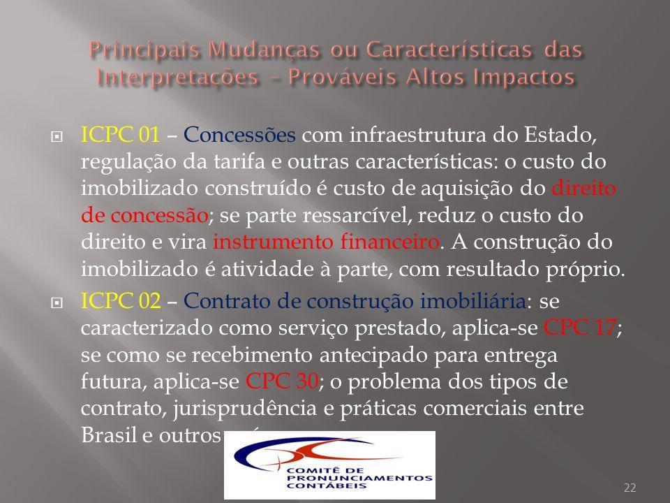 ICPC 01 – Concessões com infraestrutura do Estado, regulação da tarifa e outras características: o custo do imobilizado construído é custo de aquisiçã