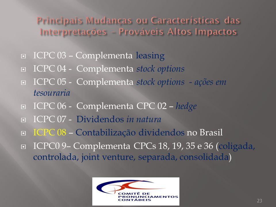ICPC 03 – Complementa leasing ICPC 04 - Complementa stock options ICPC 05 - Complementa stock options - ações em tesouraria ICPC 06 - Complementa CPC