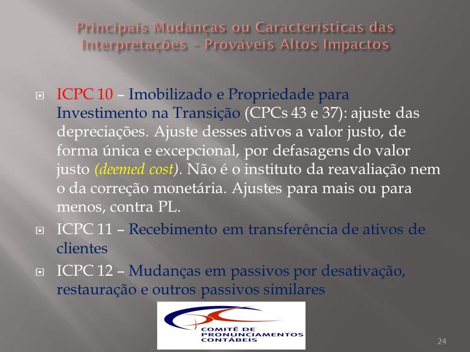 ICPC 10 – Imobilizado e Propriedade para Investimento na Transição (CPCs 43 e 37): ajuste das depreciações. Ajuste desses ativos a valor justo, de for