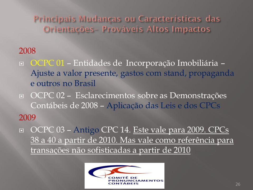 2008 OCPC 01 – Entidades de Incorporação Imobiliária – Ajuste a valor presente, gastos com stand, propaganda e outros no Brasil OCPC 02 – Esclarecimen