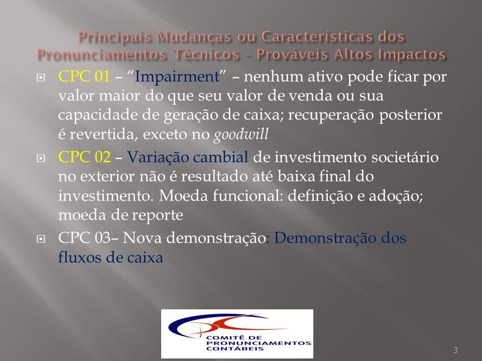 ICPC 10 – Imobilizado e Propriedade para Investimento na Transição (CPCs 43 e 37): ajuste das depreciações.