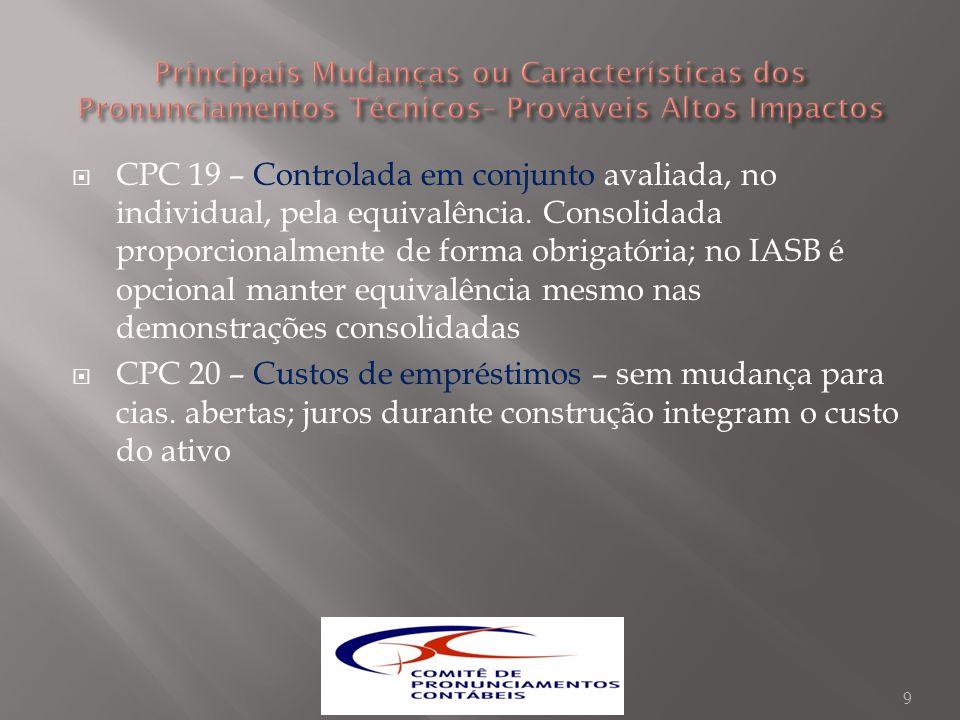 CPC 19 – Controlada em conjunto avaliada, no individual, pela equivalência. Consolidada proporcionalmente de forma obrigatória; no IASB é opcional man