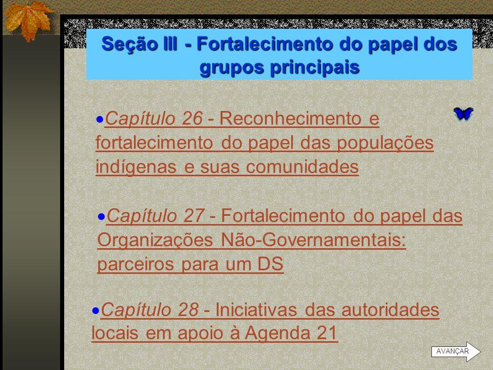 Seção III - Fortalecimento do papel dos grupos principais Capítulo 25 - A infância e a juventude no desenvolvimento sustentável Capítulo 25 - A infânc