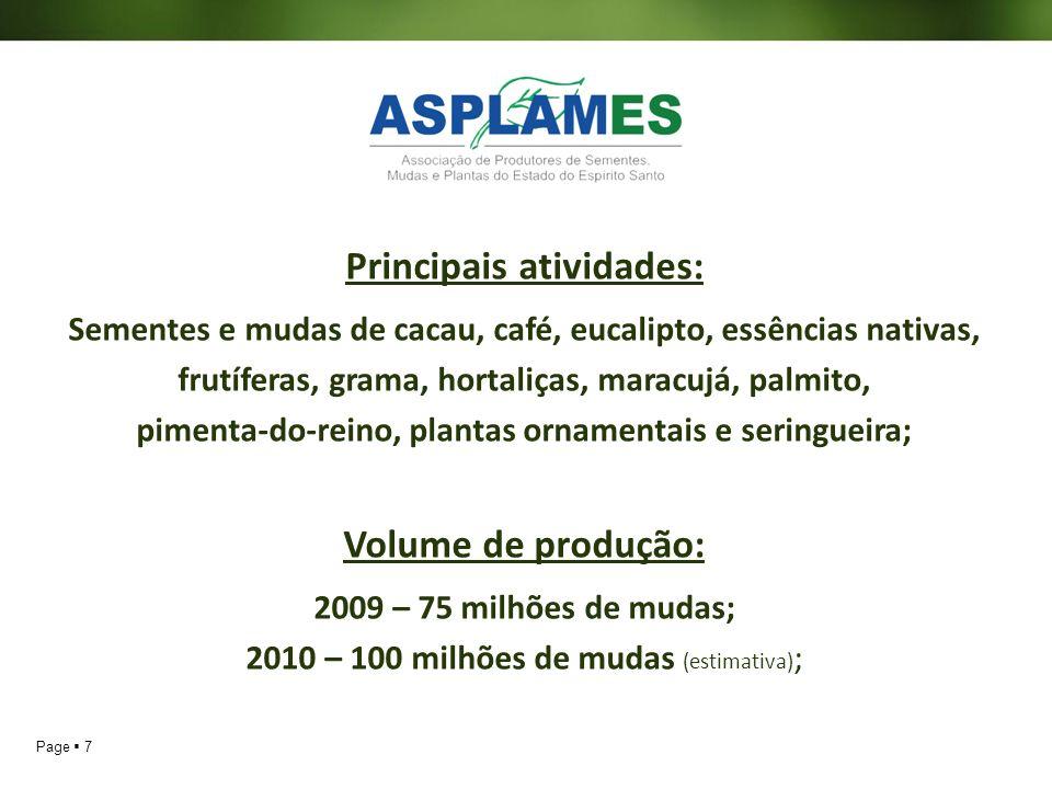 Page 7 Principais atividades: Sementes e mudas de cacau, café, eucalipto, essências nativas, frutíferas, grama, hortaliças, maracujá, palmito, pimenta