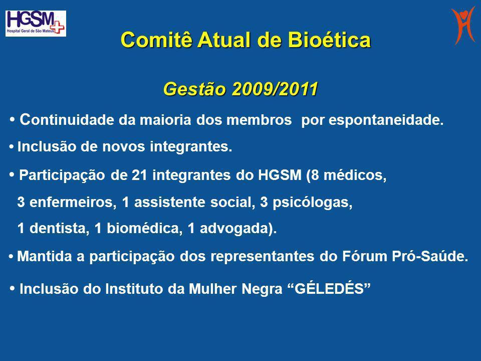Comitê Atual de Bioética Comitê Atual de Bioética Gestão 2009/2011 C ontinuidade da maioria dos membros por espontaneidade. I nclusão de novos integra