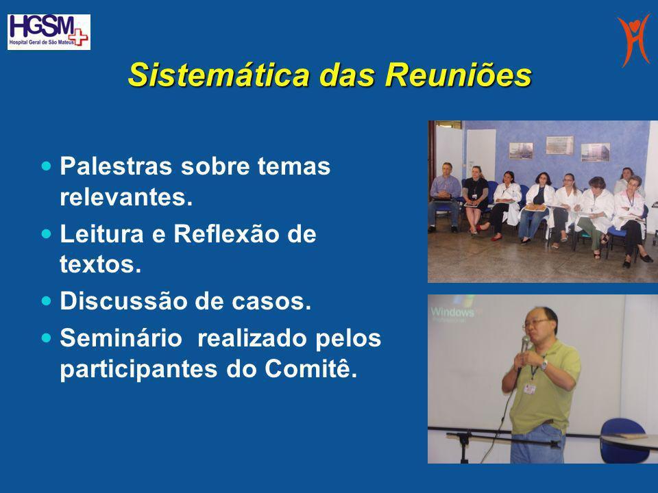 Sistemática das Reuniões Palestras sobre temas relevantes. Leitura e Reflexão de textos. Discussão de casos. Seminário realizado pelos participantes d