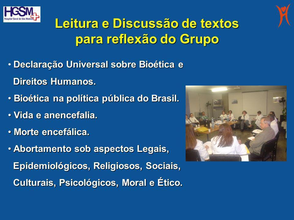 Leitura e Discussão de textos para reflexão do Grupo Declaração Universal sobre Bioética e Direitos Humanos. Direitos Humanos. Bioética na política pú