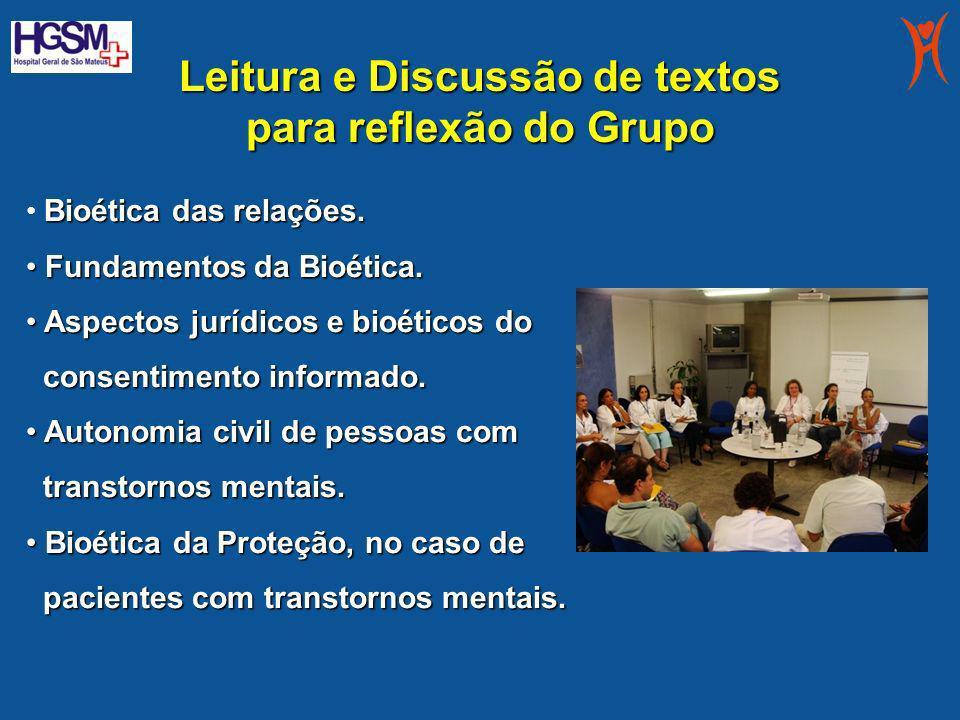 Leitura e Discussão de textos para reflexão do Grupo Bioética das relações. Fundamentos da Bioética. Fundamentos da Bioética. Aspectos jurídicos e bio