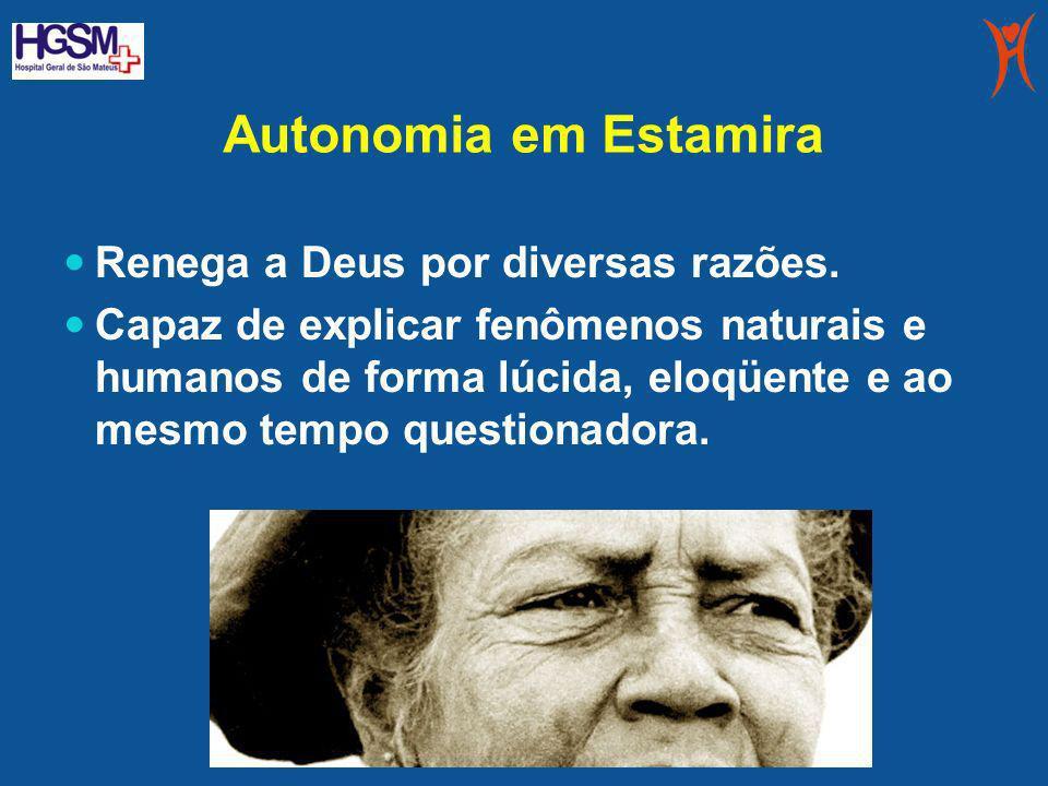 Autonomia em Estamira Renega a Deus por diversas razões. Capaz de explicar fenômenos naturais e humanos de forma lúcida, eloqüente e ao mesmo tempo qu