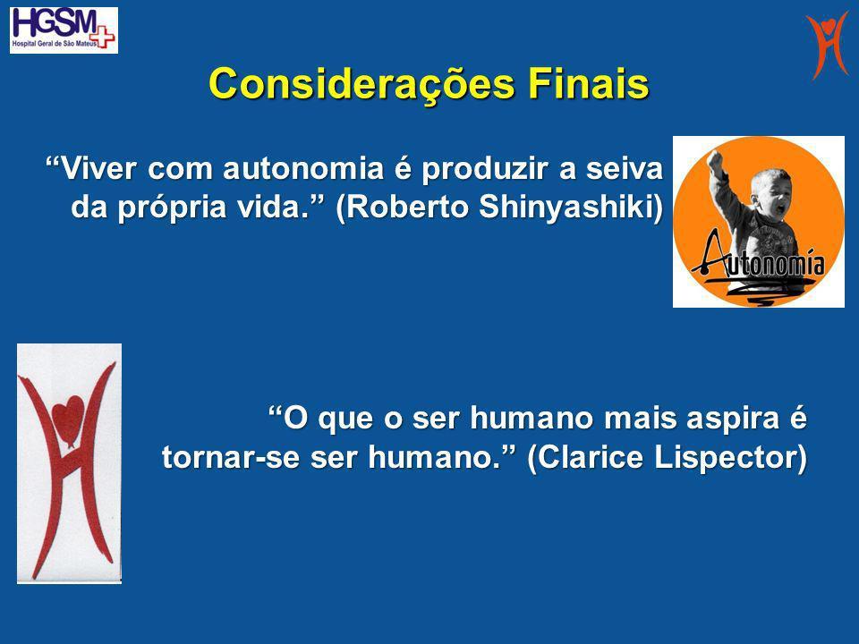 Considerações Finais Viver com autonomia é produzir a seiva da própria vida. (Roberto Shinyashiki) O que o ser humano mais aspira é tornar-se ser huma