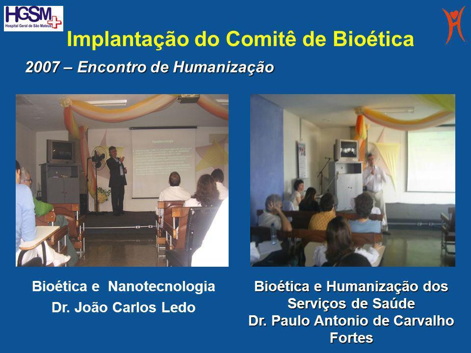Implantação do Comitê de Bioética Bioética e Nanotecnologia Dr. João Carlos Ledo Bioética e Humanização dos Serviços de Saúde Dr. Paulo Antonio de Car