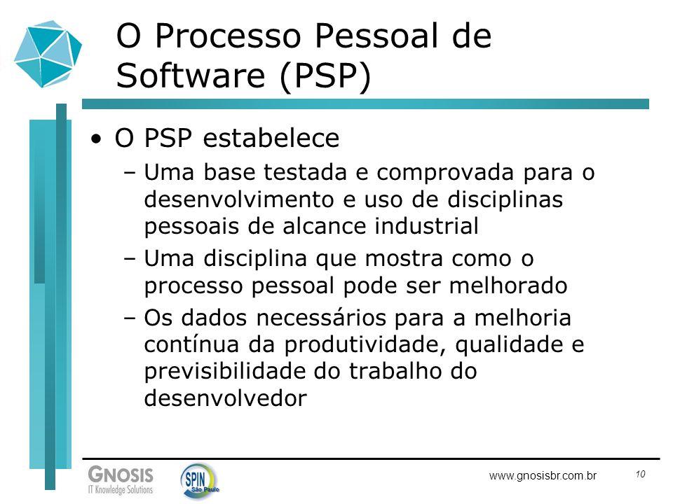 10 www.gnosisbr.com.br O Processo Pessoal de Software (PSP) O PSP estabelece –Uma base testada e comprovada para o desenvolvimento e uso de disciplina