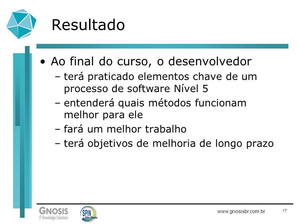 17 www.gnosisbr.com.br Resultado Ao final do curso, o desenvolvedor –terá praticado elementos chave de um processo de software Nível 5 –entenderá quai