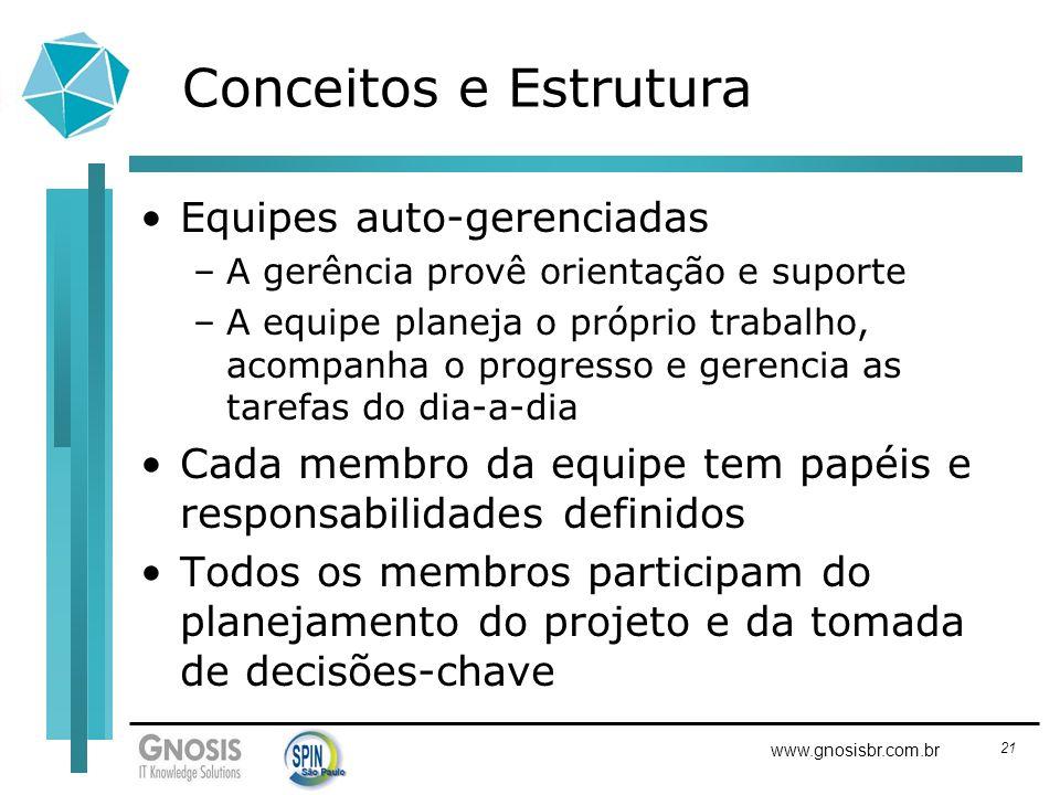 21 www.gnosisbr.com.br Conceitos e Estrutura Equipes auto-gerenciadas –A gerência provê orientação e suporte –A equipe planeja o próprio trabalho, aco