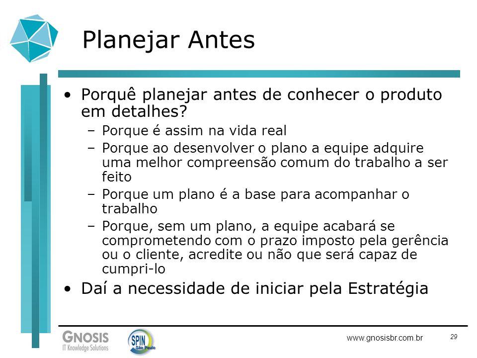 29 www.gnosisbr.com.br Planejar Antes Porquê planejar antes de conhecer o produto em detalhes? –Porque é assim na vida real –Porque ao desenvolver o p