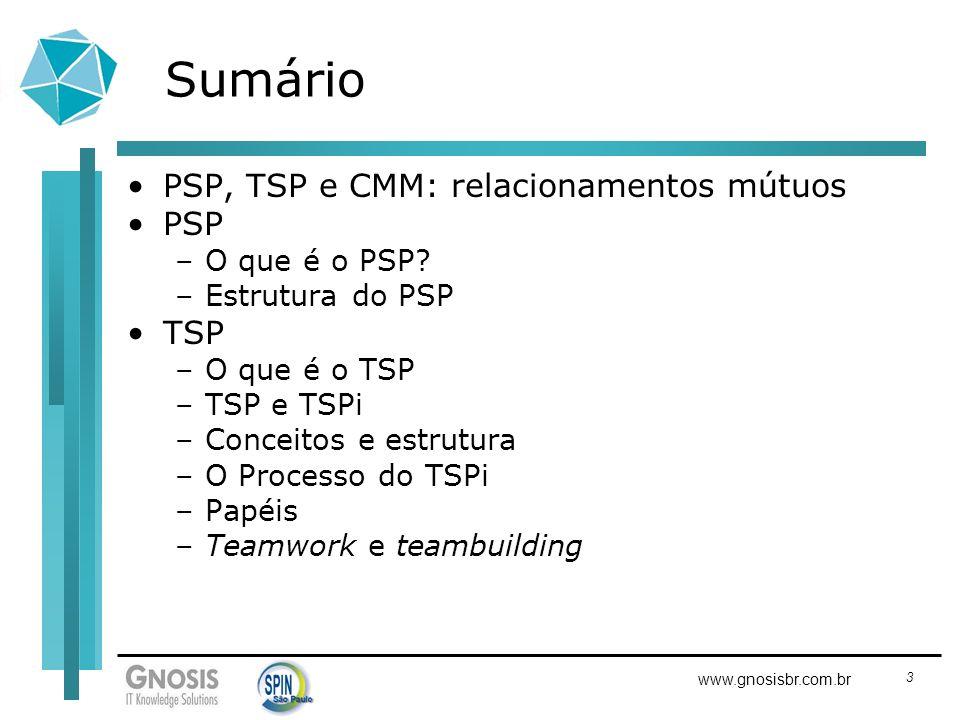 3 www.gnosisbr.com.br Sumário PSP, TSP e CMM: relacionamentos mútuos PSP –O que é o PSP? –Estrutura do PSP TSP –O que é o TSP –TSP e TSPi –Conceitos e