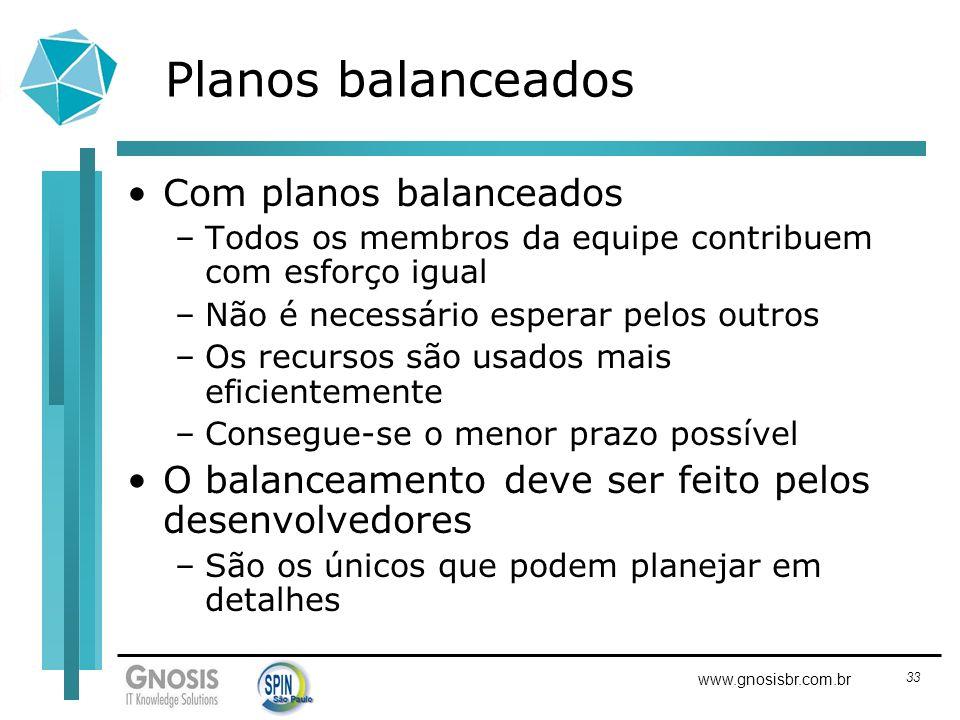 33 www.gnosisbr.com.br Planos balanceados Com planos balanceados –Todos os membros da equipe contribuem com esforço igual –Não é necessário esperar pe