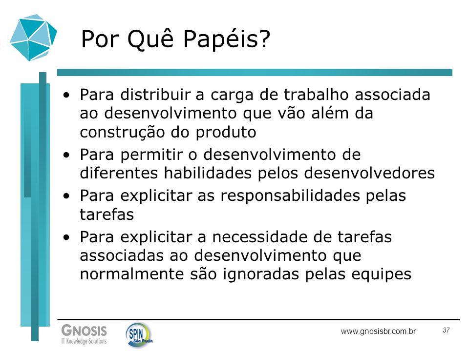 37 www.gnosisbr.com.br Por Quê Papéis? Para distribuir a carga de trabalho associada ao desenvolvimento que vão além da construção do produto Para per