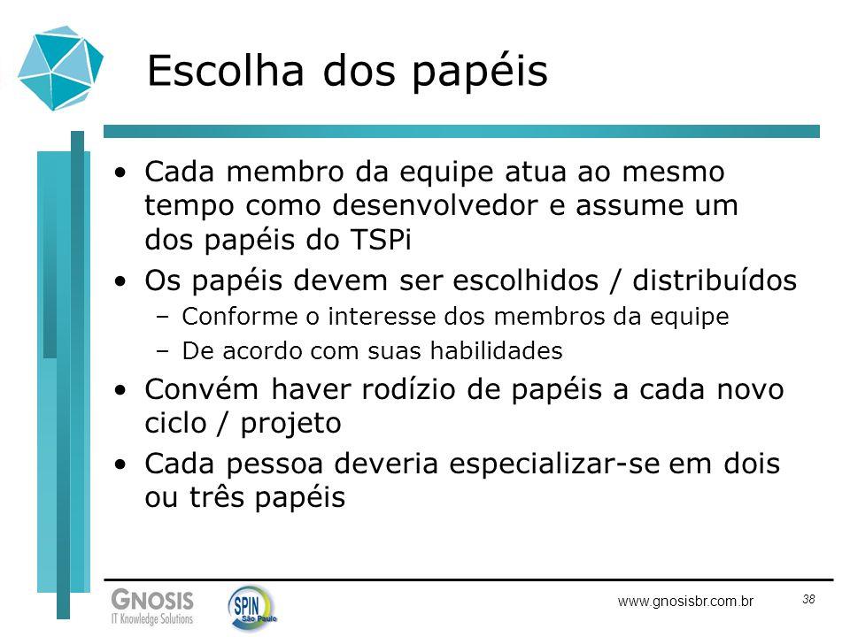 38 www.gnosisbr.com.br Escolha dos papéis Cada membro da equipe atua ao mesmo tempo como desenvolvedor e assume um dos papéis do TSPi Os papéis devem
