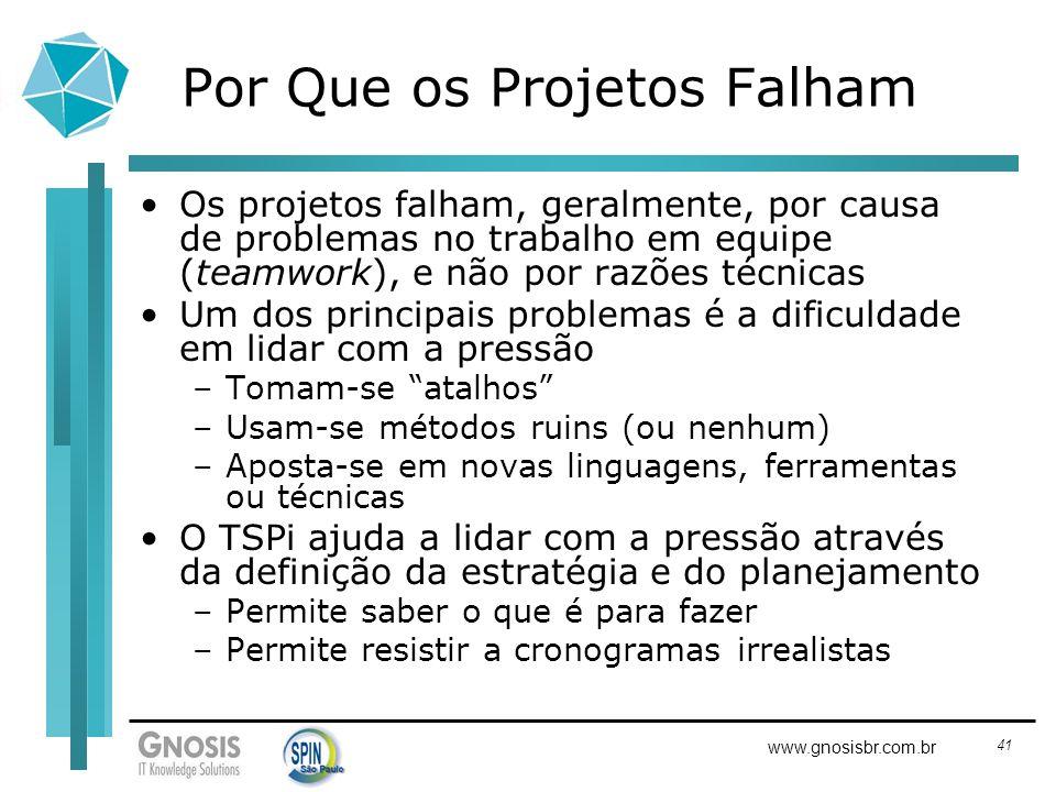 41 www.gnosisbr.com.br Por Que os Projetos Falham Os projetos falham, geralmente, por causa de problemas no trabalho em equipe (teamwork), e não por r