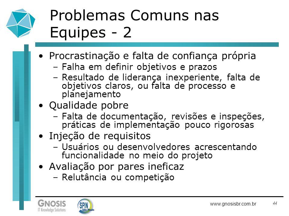 44 www.gnosisbr.com.br Problemas Comuns nas Equipes - 2 Procrastinação e falta de confiança própria –Falha em definir objetivos e prazos –Resultado de