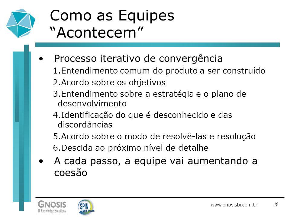 48 www.gnosisbr.com.br Como as Equipes Acontecem Processo iterativo de convergência 1.Entendimento comum do produto a ser construído 2.Acordo sobre os