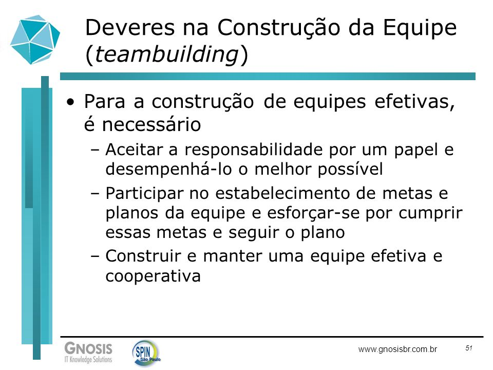 51 www.gnosisbr.com.br Deveres na Construção da Equipe (teambuilding) Para a construção de equipes efetivas, é necessário –Aceitar a responsabilidade