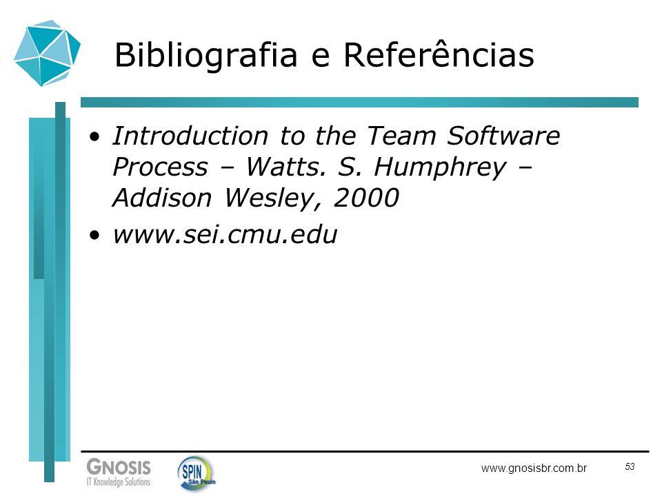 53 www.gnosisbr.com.br Bibliografia e Referências Introduction to the Team Software Process – Watts. S. Humphrey – Addison Wesley, 2000 www.sei.cmu.ed