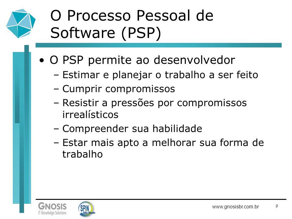 9 www.gnosisbr.com.br O Processo Pessoal de Software (PSP) O PSP permite ao desenvolvedor –Estimar e planejar o trabalho a ser feito –Cumprir compromi
