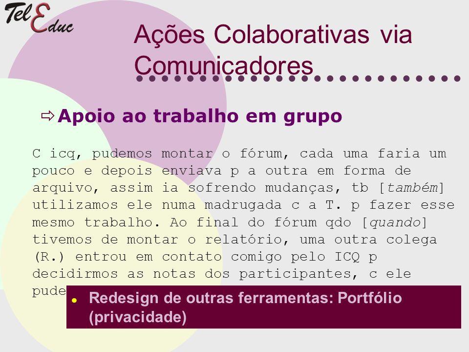 Ações Colaborativas via Comunicadores Apoio ao trabalho em grupo C icq, pudemos montar o fórum, cada uma faria um pouco e depois enviava p a outra em