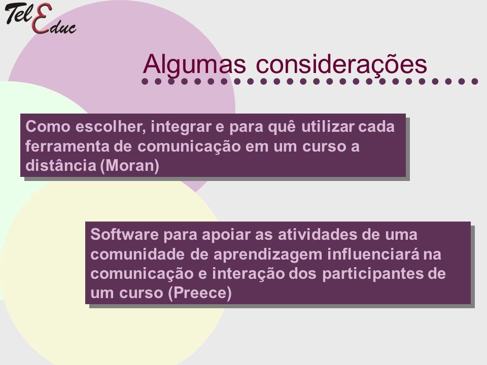 Algumas considerações Como escolher, integrar e para quê utilizar cada ferramenta de comunicação em um curso a distância (Moran) Software para apoiar