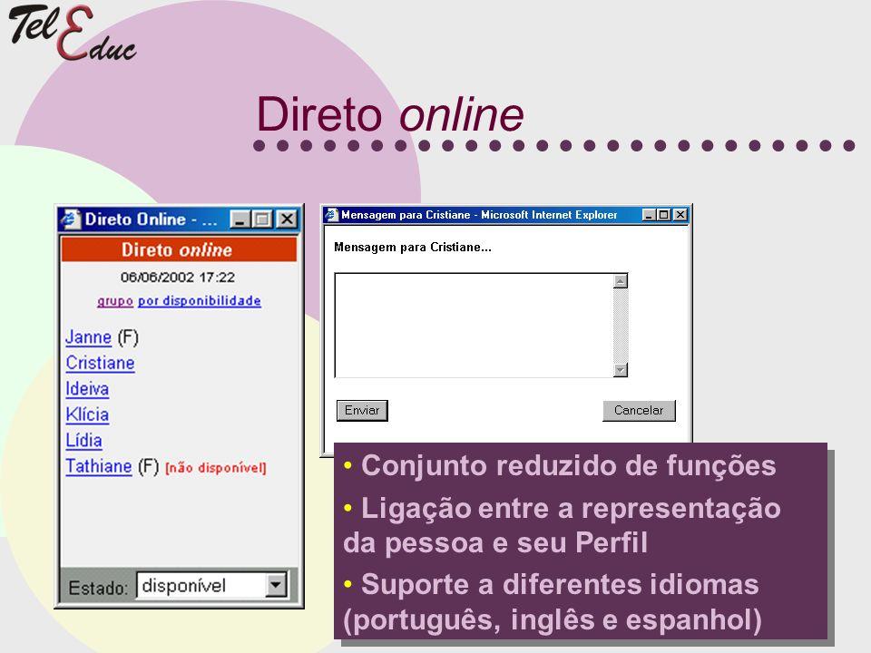 Direto online Conjunto reduzido de funções Ligação entre a representação da pessoa e seu Perfil Suporte a diferentes idiomas (português, inglês e espa